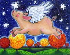 Fall Pig colorful whimsical autumn fall flying por BlueLucyStudios
