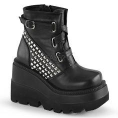 Demonia SHAKER-50 Black Vegan Leather Ankle Boots