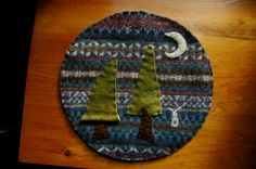 Wool trivet  Bunny in the evergreens by LittleWool on Etsy