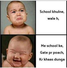 Funny Baby Memes, Very Funny Memes, Funny Jokes In Hindi, Funny School Jokes, Some Funny Jokes, Funny Relatable Memes, Funny Facts, Funny Babies, School Memes