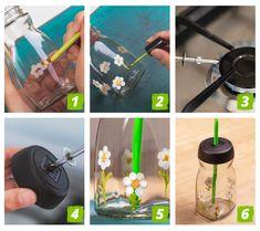 Amazing Life Hacks, Bottle Top, Bottle Painting, Home Hacks, Bottle Crafts, Glass Bottles, Activities For Kids, Arts And Crafts, Erika