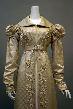 Regency Redingote, French, 1818-1820.  Silk. Front View.