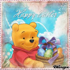 Winnie The Pooh Easter Winne The Pooh, Winnie The Pooh Quotes, Winnie The Pooh Friends, Disney Winnie The Pooh, Eeyore Pictures, Easter Pictures, Happy Easter Gif, Winnie The Pooh Christmas, Teddy Bear Cartoon