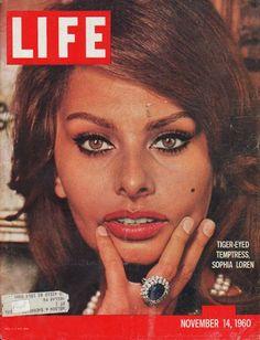 "1960 LIFE MAGAZINE vintage magazine cover ""Tiger-Eyed Temptress"" ~ Tiger-Eyed Temptress, Sophia Loren ... November 14, 1960 ~"