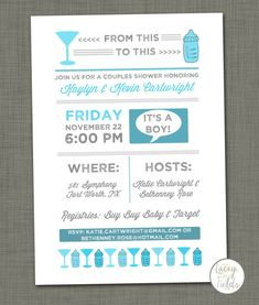 "Cute couples baby shower invitation! ""It's a Monster Shower! Join us for a couples shower honoring Mallory & Kevin Briancesco"""