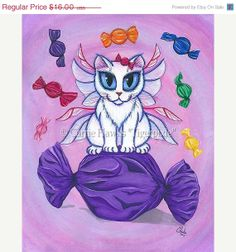 SALE Candy Fairy Cat Art Hard Candy Big Eye Fantasy Cat Art Print 8x10