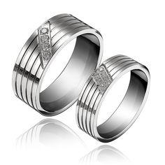 Sale 15% (3.99$) - 1PC Titanium Steel Cubic Zirconia Inlaid Couple Finger Ring For Women Men