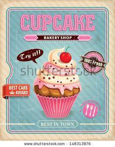 Diseño de afiche con cupcake estilo vintage.