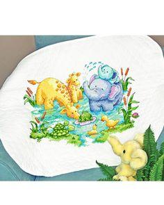 Dimensions Stamped Cross Stitch Kit Little Pond Kit No. Cute Elephant, Giraffe, Pond Kits, Dimensions Cross Stitch, Baby Arrival, Quilt Kits, Baby Quilts, Fiber Art, Needlepoint