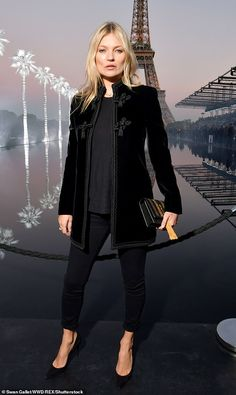 Kate Moss exudes supermodel chic she steps out for Paris Fashion Week : Looking good: Kate Moss, exuded supermodel chic in a statement velvet jacket and towering stilettos as she attended the Saint Laurent show during Paris Fashion Week on Tuesday Moss Fashion, Paris Fashion, Women's Fashion, Mode Kimono, Chic Outfits, Fashion Outfits, Iranian Women Fashion, Muslim Fashion, Blazers