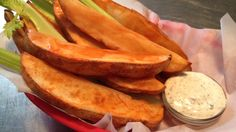 Buffalo Potato Wedges. At last pub style food that promotes health, fulfills spicy finger food fantasies and makes you question am I really on a diet?
