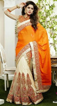 USD 149.04 Orange and Off White A Line Embroidered Chiffon Wedding Lehenga Saree 29083