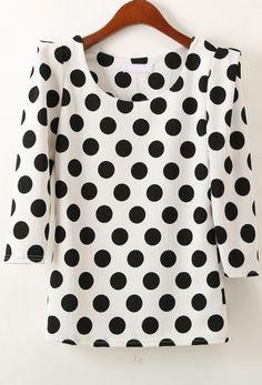 White Half Sleeve Polka Dot Slim Blouse - abaday.com