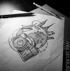 New Travel Art Sketches 62 Ideas Doodle Drawings, Doodle Art, Cute Drawings, Tattoo Drawings, Drawing Sketches, Tattoo Pics, Tiny Tattoo, Small Tattoos, Summer Drawings
