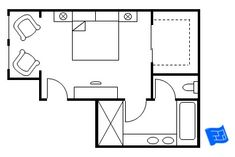 Master bedroom floor plan with the entrance straight into the bedroom.  Double doors lead to the walk-in closet and a further door from the bedroom leads to the bathroom.  Click onto site for more analysis.