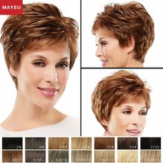 49.00$ Buy now - http://alijc9.worldwells.pw/go.php?t=32481836675 - Short Human Hair Wigs For Women Elegant MAYSU Layered Fluffy Classic Brazilian Virgin Hair Blonde wig Capless European Style
