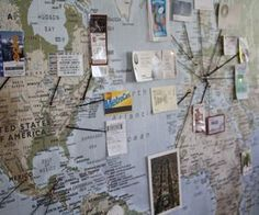 Arabella wants to travel when she gets older, so she keeps a map in her room and pins places she wants to see.