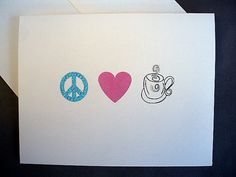 Peace Love Coffee Notecard Stationery by sincerelyyours123 on Etsy, $15.00