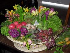 The French Tangerine: ~ Vegetables and fruit used in a table arrangement