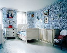 "The ""Blue Room"" of Charles and Olya Thompson's Brooklyn townhouse."