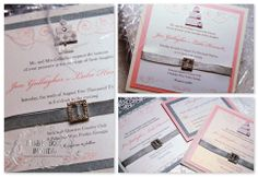 Musical Wedding or Party Invitation and RSVP Card in silver cake white ivory and pale pink with ribbon and embellished. Comes in Musical Box that Sings! Singing Music boxed invite. Totally custom, high end/class, couture, elegant invite.