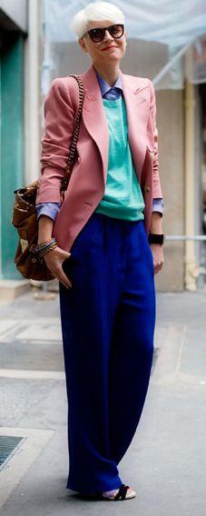 Elisa Nalin rocking multicoloured masculine tailoring.