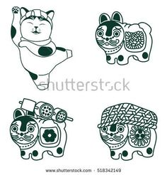 stock-vector-vector-illustration-japanese-toy-dog-and-cat-traditional-japanese-symbol-inu-hariko-and-maneki-518342149.jpg (450×470)