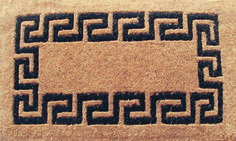 Our black colored Greek Key classic welcome mat