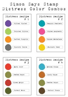 Shari Carroll, who is a master at beautiful color combinations, created these recipe cards of colors that work well together. There are combinations here that I would never use. Distress Markers, Tim Holtz Distress Ink, Distress Oxide Ink, Copic Markers, Distress Ink Techniques, Simon Says Stamp Blog, Colouring Techniques, Card Making Techniques, Color Blending