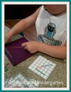 Geoboards for numbers?? a great link for printables FREE.  another beginning of year center DONE! A Differentiated Kindergarten: Differentiated Math Stations For The Beginning of The Year and A Couple Of Freebies!