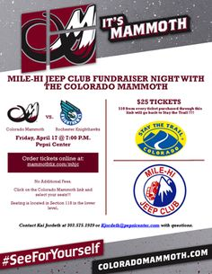 The #MileHiJeepClub is selling tickets for the April 17 #ColoradoMammoth vs Rochester Knighthawks game in #Denver, CO and $10 from every ticket sold will be donated to benefit Stay The Trail! To purchase tickets you can go to www.mammothtix.com/mhjc  #Jeepmore #Jeeplife #jeeplove #offroad #4x4
