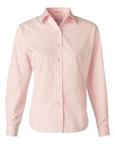Soft Pink Ladies Long Sleeve Stain-Resistant Tapered Twill Shirt From FeatherLite - 5283