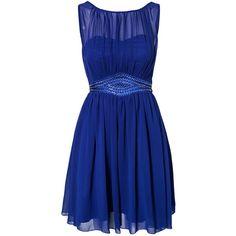 Little Mistress Chiffon Trim Dress (€65) ❤ liked on Polyvore featuring dresses, vestidos, blue, short dresses, party dresses, short sequin dress, see through dress, short blue cocktail dresses and short blue dresses