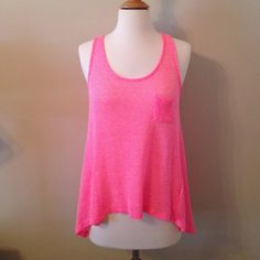 Hot Pink Tank Top Barely worn and in great condition! Looks super cute as a swimsuit cover up or an everyday shirt. Soprano Tops Tank Tops