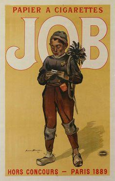 FIRMIN BOUISSET VINTAGE POSTER FOR CIGARETTE PAPER - JOB - circa 1895
