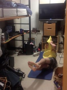 Someone walked in on their roommate doing P90x. In an banana suit