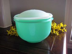 Tupperware Green Lettuce Keeper, Jadelite Green, 3 piece set, Lettuce Crisper and spike,vintage tupperware at Designs By Willowcreek on Etsy by DesignsByWillowcreek on Etsy Green Lettuce, Green Bowl, Vintage Tupperware, Color Harmony, Vintage Kitchen, 3 Piece, Etsy Seller, Cottage, Group