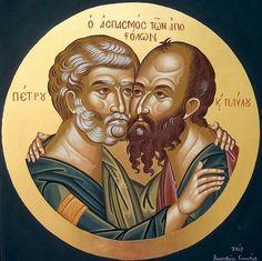 Pedro y Pablo Byzantine Icons, Byzantine Art, Creativity Exercises, Religious Icons, Orthodox Icons, Sacred Heart, Kirchen, Animal Kingdom, Christianity