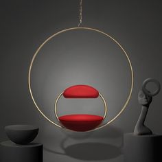 In his largest exhibition, British designer Lee Broom launched over twenty new furniture, décor, glassware and lighting products in a space titled The Department Store. The Hanging Hoop Chair is suspended from above and upholstered in Kvadrat wool. Interior Design Magazine, Best Interior Design, Interior Design Inspiration, Deco Furniture, Furniture Design, Iron Furniture, Cheap Bean Bag Chairs, Lee Broom, Luxury Candles