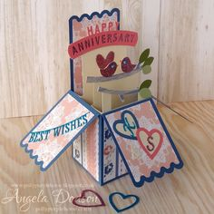 Anniversary Pop Up Box Card - Simply Creative Shabby Chic papers by design team member Angela