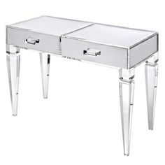 Plexi-Craft: Plexi-Craft has been designing acrylic furniture for more than 50 years, including special custom pieces. This contemporary acrylic vanity ($2,383) offers extra glamour thanks to shiny mirrored drawers.