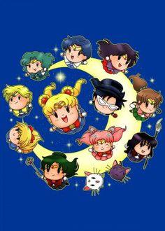 sailormoon prettyguardian sailormars jupiter pluto chibi toxedomask neptune venus anime manga cats luna artemis saturn mercury