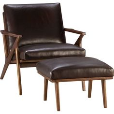 About $1400 with the ottoman - SO comfortable for how compact it is [Cavett Leather Chair in Chairs | Crate and Barrel]
