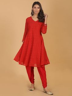 Red Mirror Work Mulmul Kurta with Modal Dhoti Pants- Set of 2 Red Mirror, Mirror Work, Classic Suit, Dress Indian Style, Indian Ethnic Wear, Green Cotton, All About Fashion, Modest Fashion, Indian Fashion