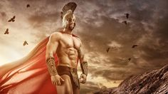 medieval warrior: Medieval warrior standing in front of the gloomy clouds Stock Photo