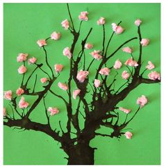Blow ink with a straw to make the trunk & branches and use tissue paper blossoms for dimension