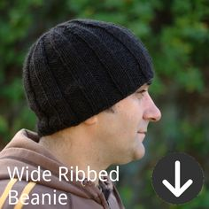 free Wide Ribbed Beanie knitting pattern