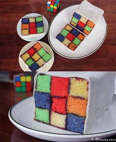 A Rubics Cube Cake dedicated to the brightest chap I've ever known. #cake #RubicsCube #baking #geek #fun #food #baking #cooking #colourful #nerdy #cute