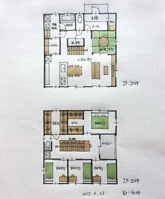 『40坪の間取り』 ・ トイレ・洗面脱衣室がリビングや玄関と程よい距離を確保した間取り。 和室はリビングと一体化。 2階の階段横廊下には本棚、通路幅50センチ。 ・ #間取り#間取り図 #間取り集 # - atelierorb