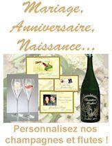 Etiquette personnalisee, bouteille de champagne gravee ou peinte, flute de champagne personnalisee